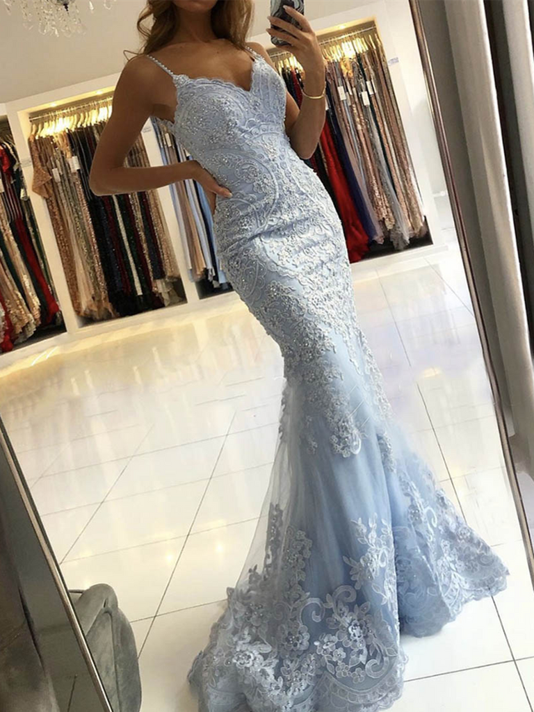 V Neck Blue Lace Mermaid Long Prom Dresses, Mermaid Blue Lace Formal Evening Dresses