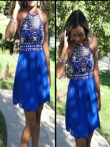 Custom Made A Line Halter Neck Backless Short Blue Prom Dress, Blue Homecoming Dress, Blue Graduation Dress