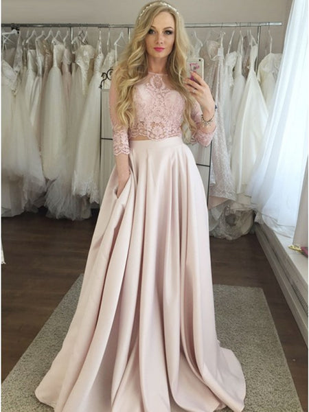 Two piece 3/4 sleeves pink prom dresses with pockets, Two piece pink lace formal evening dresses