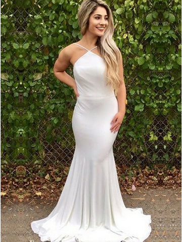 White Mermaid Prom Dresses, Sleeveless Mermaid Formal Dresses, Graduation Dresses