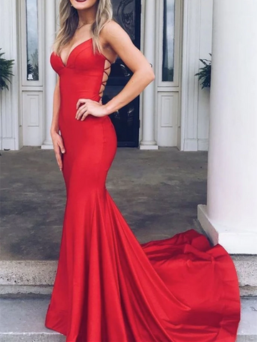 Simple V Neck Red Mermaid Backless Satin Long Prom Dresses, Mermaid Red Open Back Formal Evening Dresses