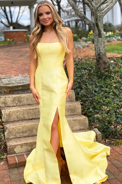 Simple Yellow Mermaid Satin Long Prom Dresses, Simple Yellow Mermaid Satin Long Prom Formal Evening Dresses