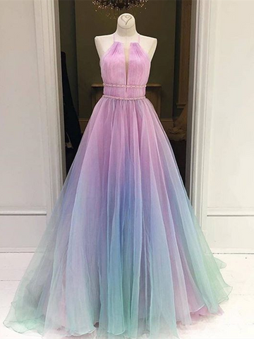 Ombre Spaghetti Straps Sleeveless Tulle Long Prom Dresses, Halter Neck Multi Color Formal Evening Dresses
