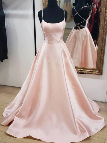 Simple A Line Pink Satin Backless Long Prom Dresses, Open Back Pink Formal Graduation Evening Dresses