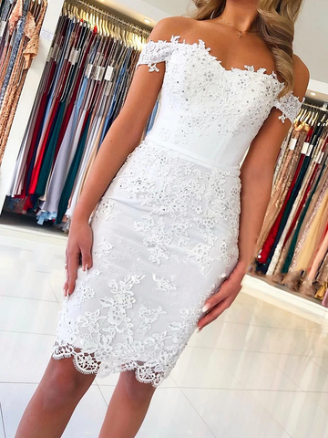 Off Shoulder Short Mermaid White Lace Prom Dresses, Off The Shoulder Short White Lace Graduation Formal Homecoming Dresses