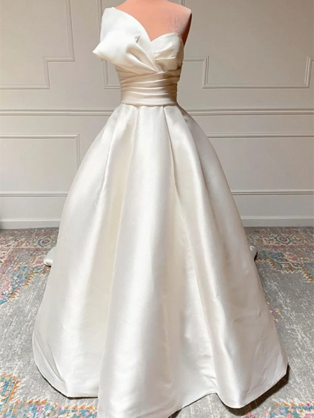 White Satin Long Prom Dresses, White Wedding Dresses, long Satin White Formal Evening Dresses