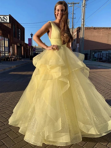 V Neck Sequins Yellow Long Prom Dresses, V Neck Sequins Yellow Formal Evening Dresses, Sparkly Ball Gown
