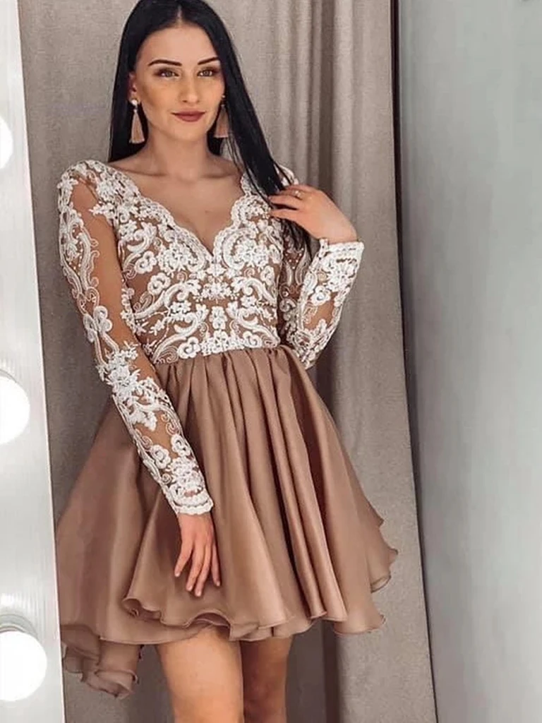 V Neck Short Champagne Lace Long Sleeves Prom Dresses, Short Champagne Lace Formal Graduation Homecoming Dresses