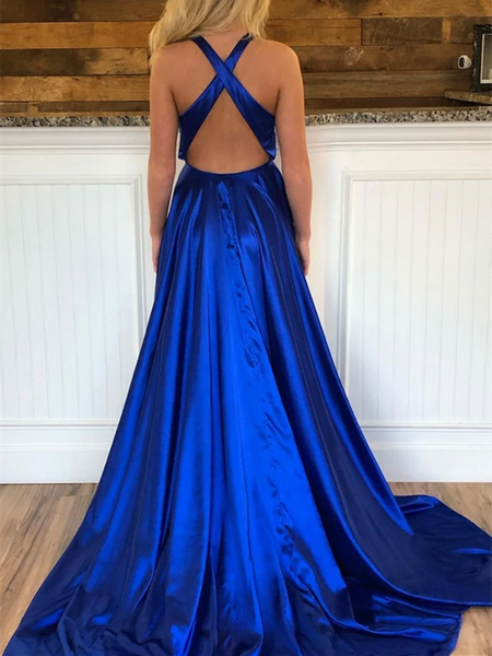 Simple V Neck Royal Blue Criss-Cross Back Satin Long Prom Dresses With Leg Slit, Royal Blue Formal Evening Dresses