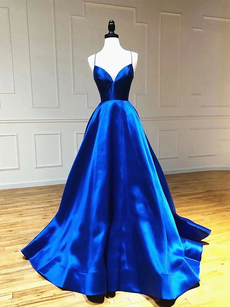 V Neck Royal Blue Backless Prom Dresses, Open Back Royal Blue Formal Evening Graduation Dresses