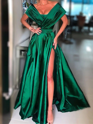 Simple Green Satin Long Prom Dresses, Green Satin Long Formal Evening Dresses