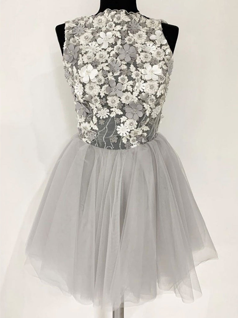 Gray Tulle Lace Short Prom Dress, Gray Tulle Lace Short Homecoming Dress