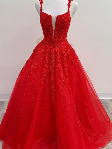Red Tulle Lace Long Prom Dresses, Red Lace Long Formal Evening Dresses
