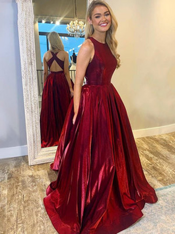 A Line Round Neck Burgundy Satin Long Prom Dresses, Burgundy Formal Evening Dresses