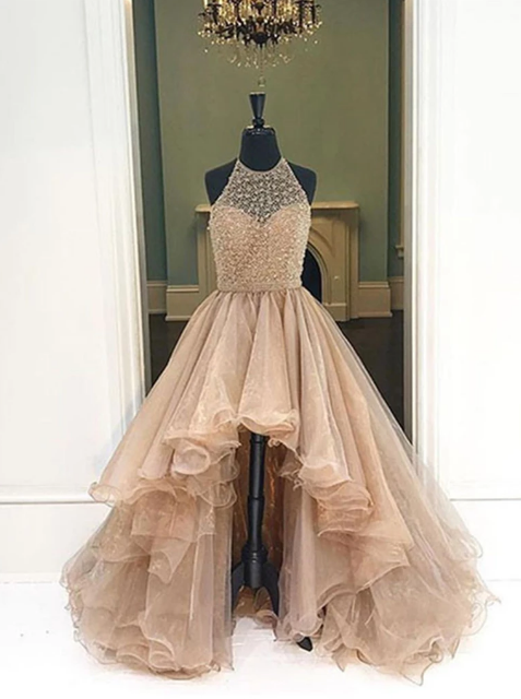 Champagne Round Neck High Low  Prom Dresses, High Low Champagne Formal Evening Dresses