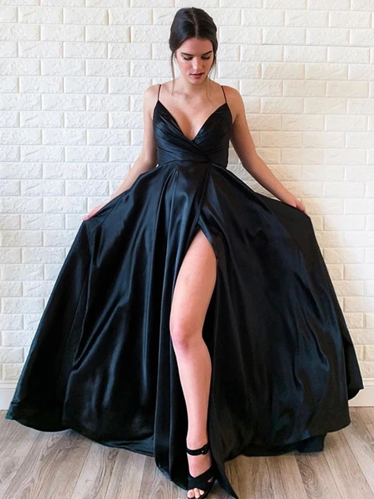 V Neck Black Satin Long Prom Dresses With High Leg Slit,  Black Satin Long Formal Evening Graduation Dresses