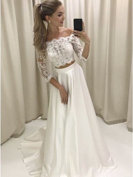A Line White Lace 3/4 Sleeves Two Pieces  Wedding Dresses ,  White Lace 3/4 Sleeves Two Pieces Prom Dresses