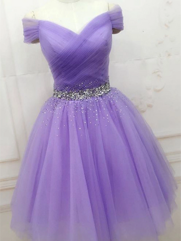 A Line Off The Shoulder Purple Tulle Short Prom Dresses, Off Shoulder Purple Short Evening Homecoming Dresses