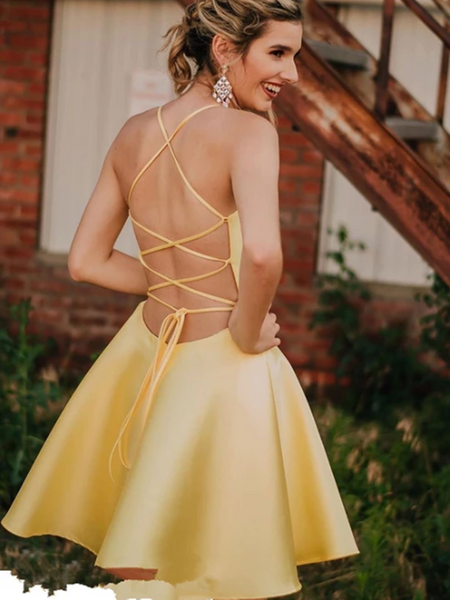 A Line V Neck Yellow Backless Short Prom Dresses,  V Neck Yellow Backless Short Evening Homecoming Dresses