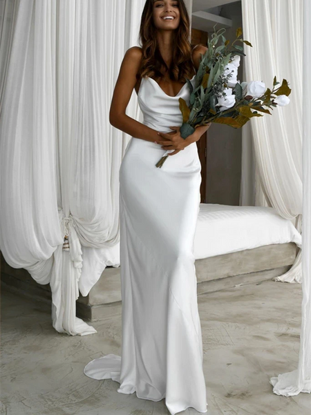 Sheath/Column Simple Scoop Neck Mermaid White Popular Beach Wedding Dresses, Spaghetti Straps Mermaid Bridal Dresses