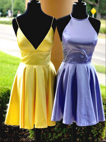 Simple Satin Short Yellow/Purple Prom Dresses, Short Yellow/Purple Short Evening Homecoming Dresses
