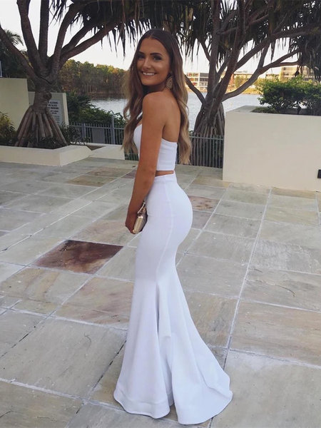 Sweetheart Neck Mermaid Strapless Tube Top White Two Pieces Prom Dresses, Mermaid 2 Pieces Formal Evening Dresses