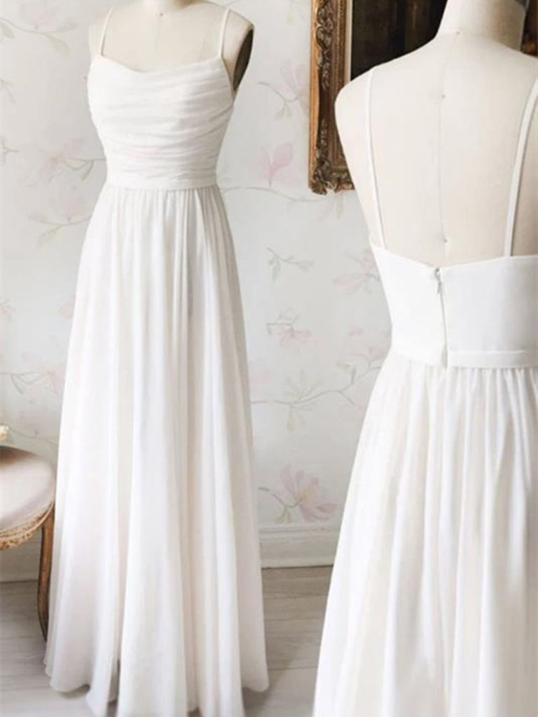 A Line Backless White Prom Gown, Open Back White Formal Evening Dresses