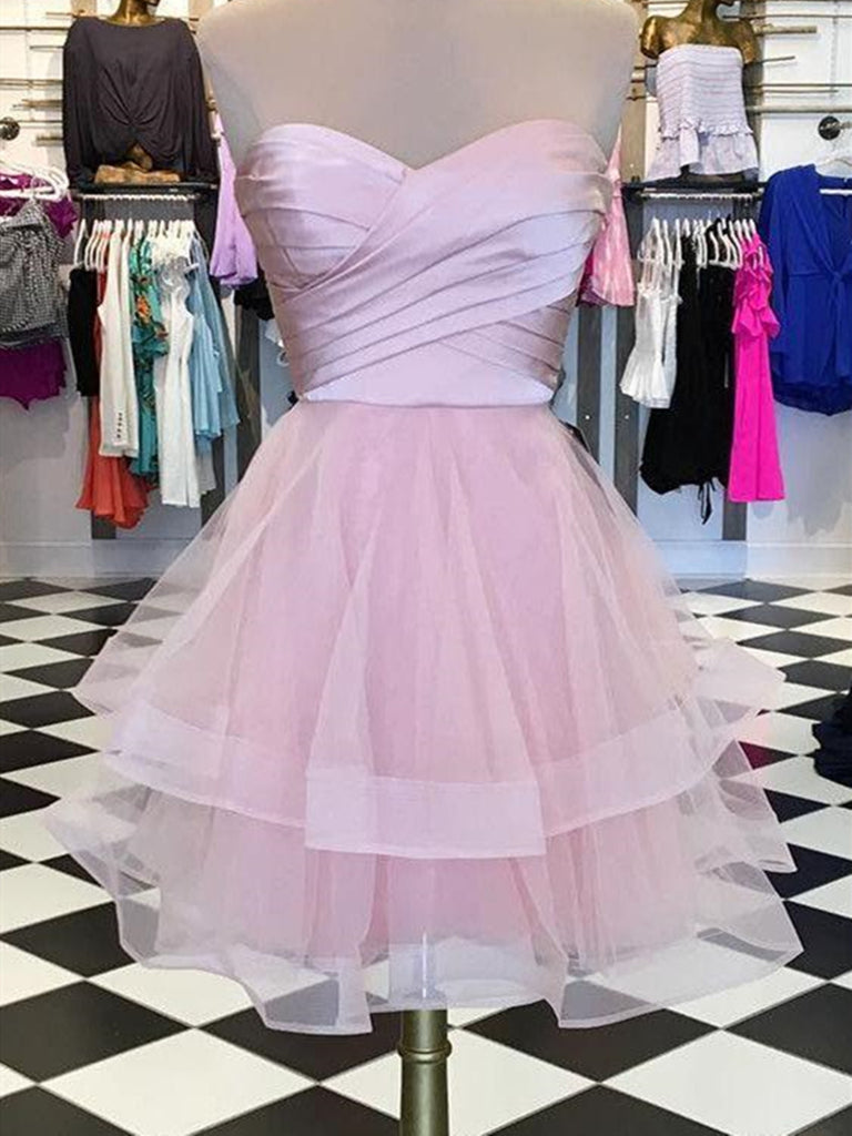 A line pink tulle sweetheart mini prom dress, short homecoming dress