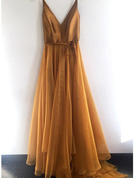 Sexy Long V Neck Spaghetti Straps Prom Dresses, Cheap Formal Evening Dresses