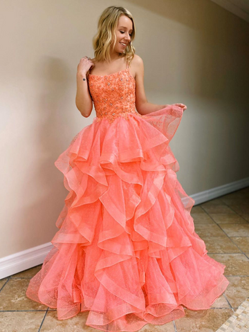 A Line Coral Backless Tulle Beaded Long prom Gowns, Coral Beaded Prom Dresses, Open Back Coral Formal Evening Dresses