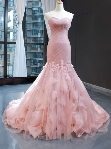 Pink Sweetheart Tulle Mermaid Long Prom Dresses, Pink Sweetheart Tulle Mermaid Long Formal Evening Dresses