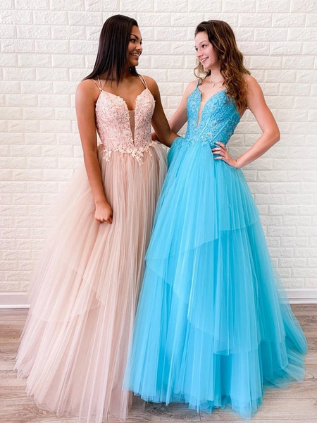 A Line V Neck Light Blue /Dusty Pink Backless Tulle Lace Long Prom Dresses, Open Back  Light Blue /Dusty Pink Lace Formal Evening Dresses