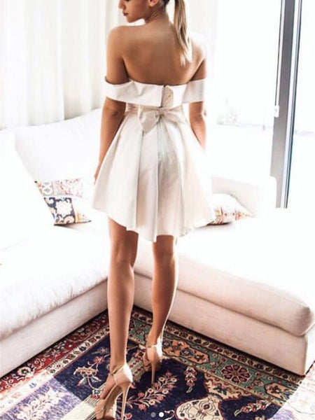 Off Shoulder Simple Cute Satin Short Prom Dress, Off The Shoulder Simple Cute Satin Short Graduation Homecoming Dress