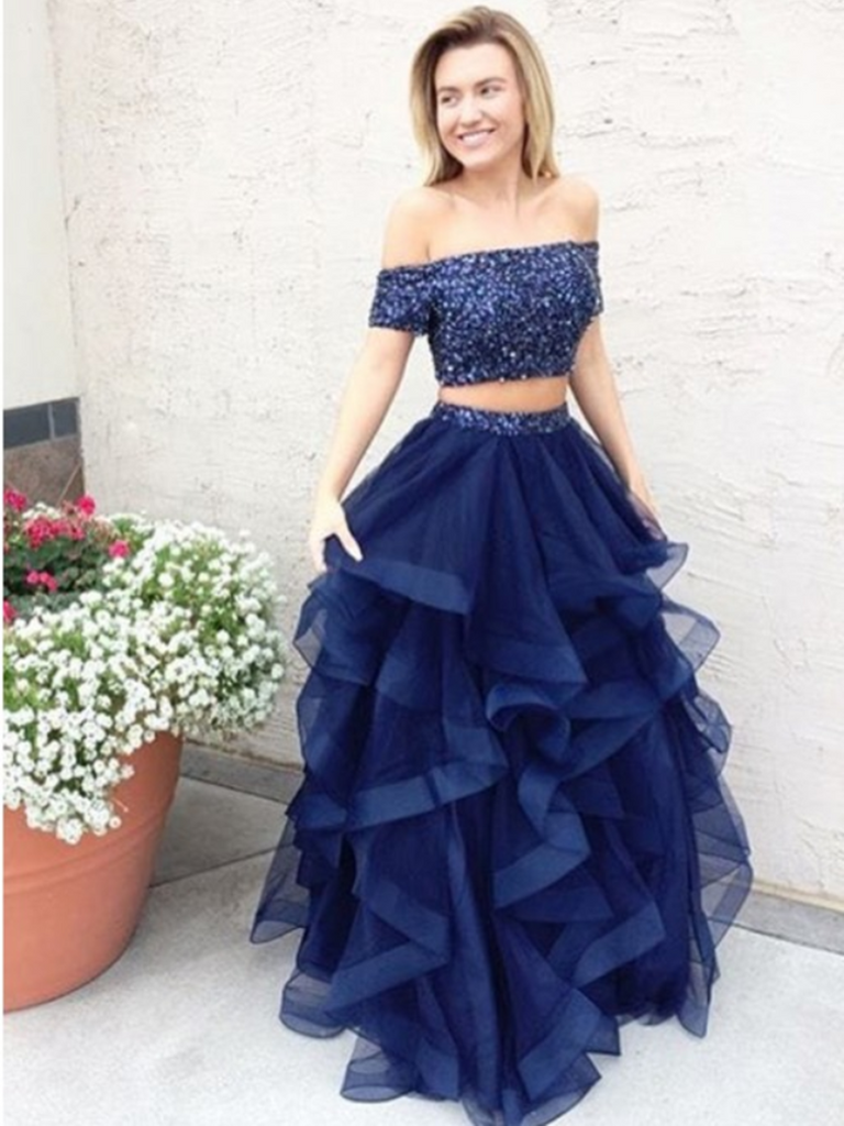 Two Piece Off The Shoulder Navy Blue Tulle Prom Dress with Beading, 2 Pieces Off Shoulder Formal Evening Dress