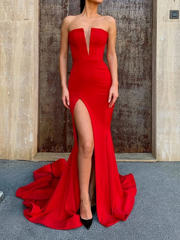 Red Mermaid Long Prom Dresses With Leg Slit, Red Mermaid Formal Evening Dresses with Train