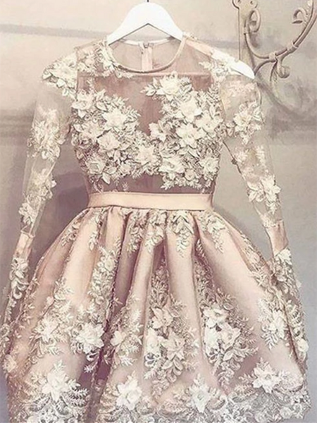 Cute Champagne Lace Short Prom Dress, Champagne Lace Short Homecoming Dress