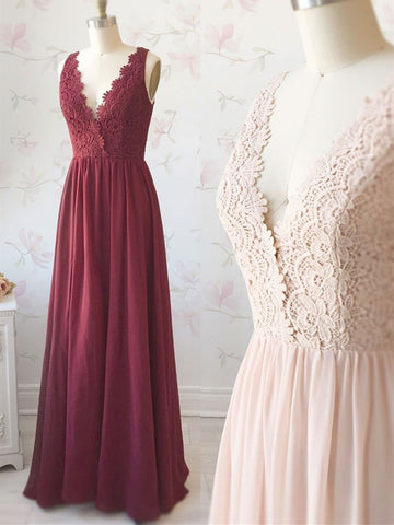 A line v neck light pink/burgundy lace chiffon long prom dress, Light pink/burgundy lace evening dress