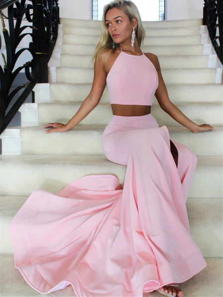 Pink mermaid two piece long prom dresses, Pink mermaid formal evening dresses