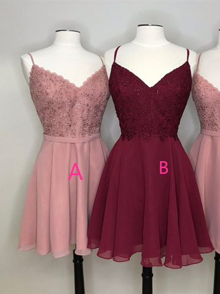 A Line V Neck Pink/Burbundy Lace Short Prom Dresses,  Pink/Burbundy Lace Short Formal Evening Homecoming Dresses