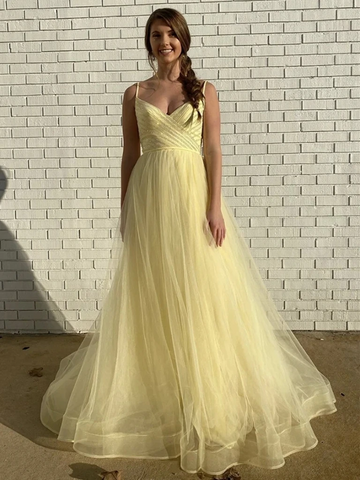 V Neck Yellow Tulle Long Prom Dresses, V Neck Yellow Formal Graduation Evening Dresses
