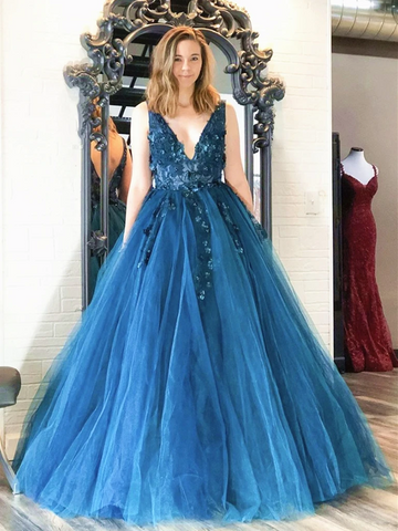 V Neck Blue Tulle Floral Long Prom Dresses, Blue Floral Formal Evening Graduation Dresses
