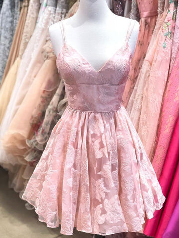 Cute Pink V Neck Short Prom Dress, Pink V Neck Short Homecoming Dress