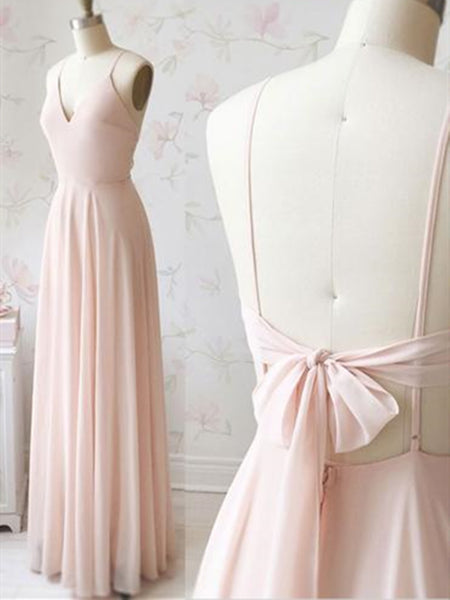 V neck Light pink  chiffon long prom dress, V neck Light pink  chiffon long evening dress