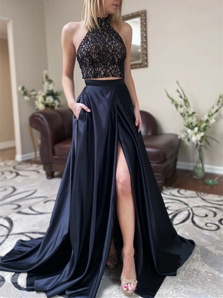 High Neck Black Two Pieces Long Prom Dresses With High Leg Slit, Black 2 Pieces Satin Long Formal Evening Party Dresses