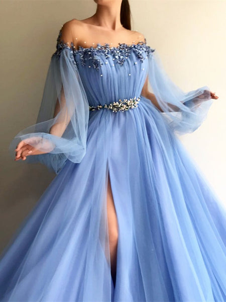Round Neck Blue Tulle Long Sleeves Prom Dresses, Blue Tulle Long Sleeves Formal Evening Dresses