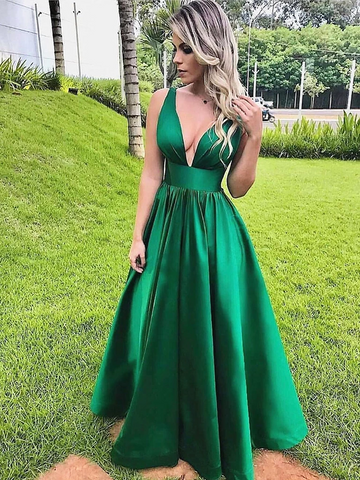 V Neck Green Satin Long Prom Dresses, V Neck Green Formal Homecoming Evening Dresses
