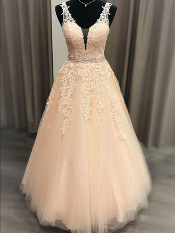 Pink V Neck Tulle Lace Long Prom Dress, Pink V Neck Tulle Lace Long Evening Dress