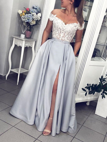 Off Shoulder Grey Lace Long Prom Dresses With Leg Slit, Off The Shoulder Gray Lace Formal Evening Dresses