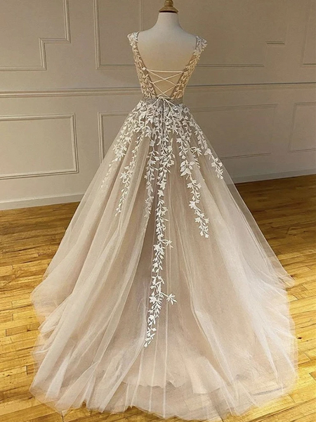Round Neck  Champagne Tulle Lace Long Wedding Dresses, Champagne Lace Prom Formal Evening Dresses