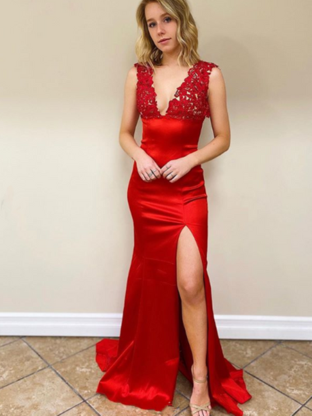 Mermaid V Neck Red/Black Satin Lace Backless Prom Dresses With Leg Slit, Lace Backless Mermaid Formal Evening Dresses